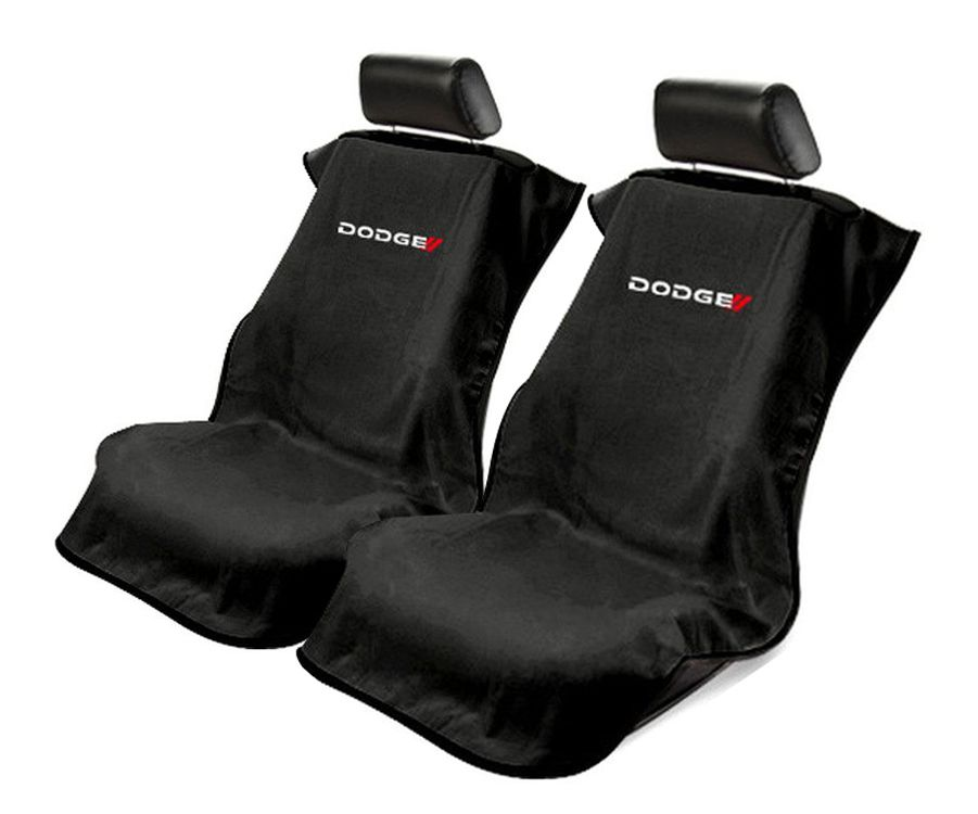 Seat Armour Pair of Black Towel Seat Covers with New Dodge Logo, Front-Right View