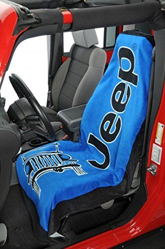 Seat Armour Pair of Blue Towel 2 GO Seat Covers with Jeep Wrangler Logo, Inside Car View