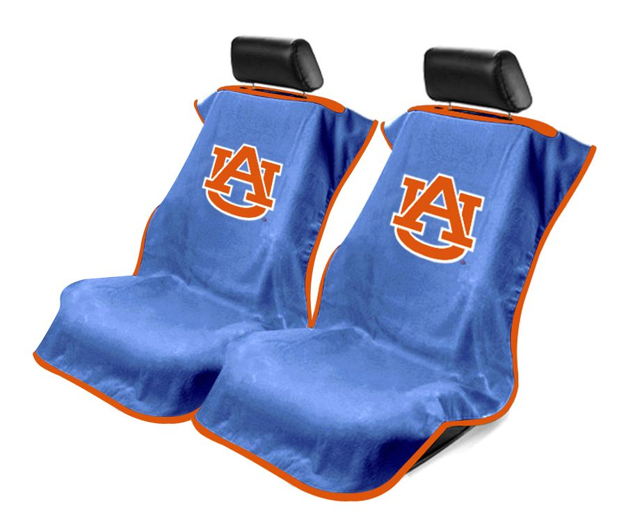 Seat Armour Pair of Blue Towel Seat Covers with NCAA Auburn University Logo, Front-Right View