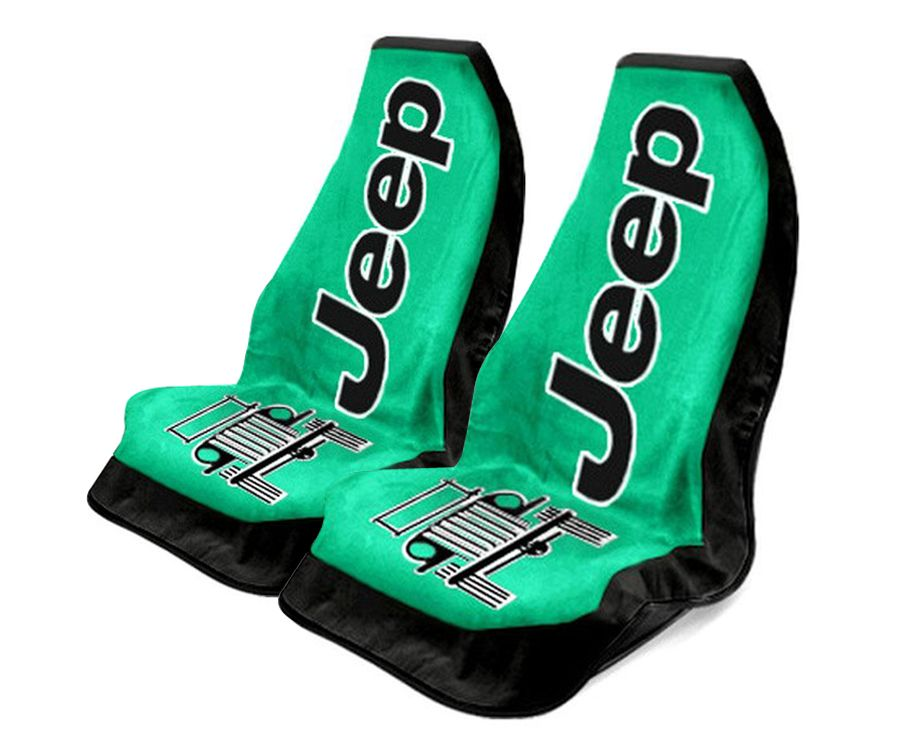 Seat Armour Pair of Green Towel 2 GO Seat Covers with Jeep Wrangler Logo, Front-Right View