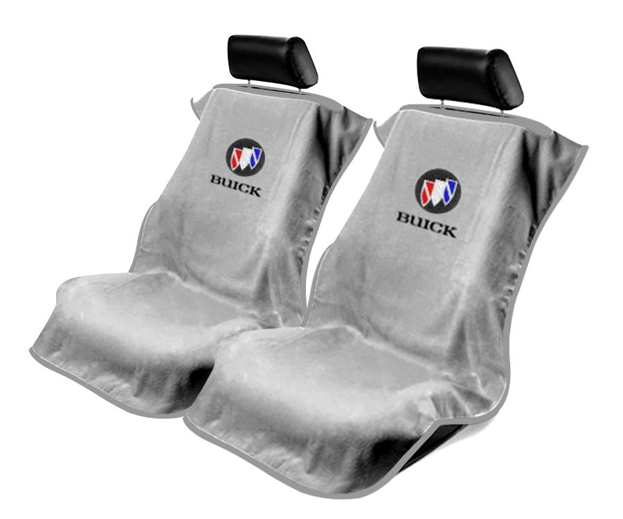 Seat Armour Pair of Grey Towel Seat Covers with Buick Logo, Front-Right View