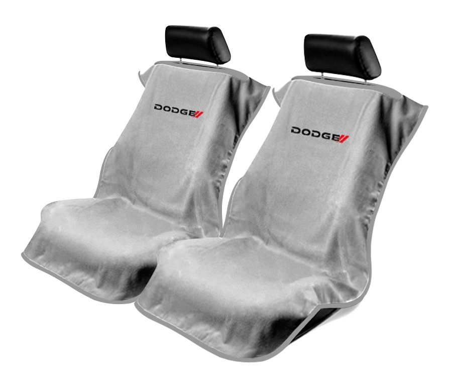 Seat Armour Pair of Grey Towel Seat Covers with New Dodge Logo, Front-Right View