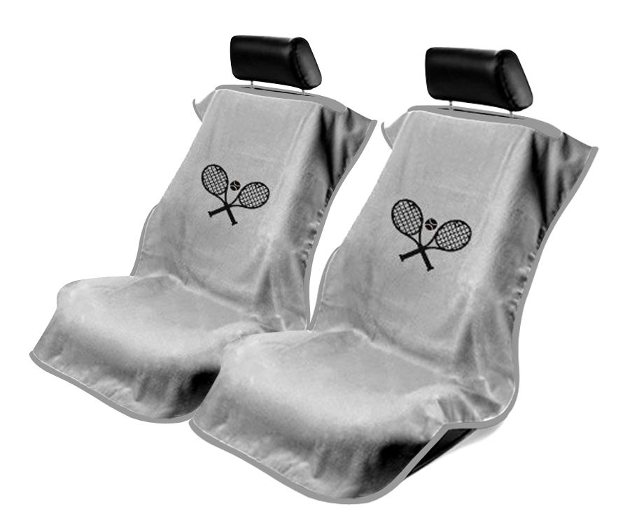 Seat Armour Pair of Grey Towel Seat Covers with Tennis Logo, Front-Right View