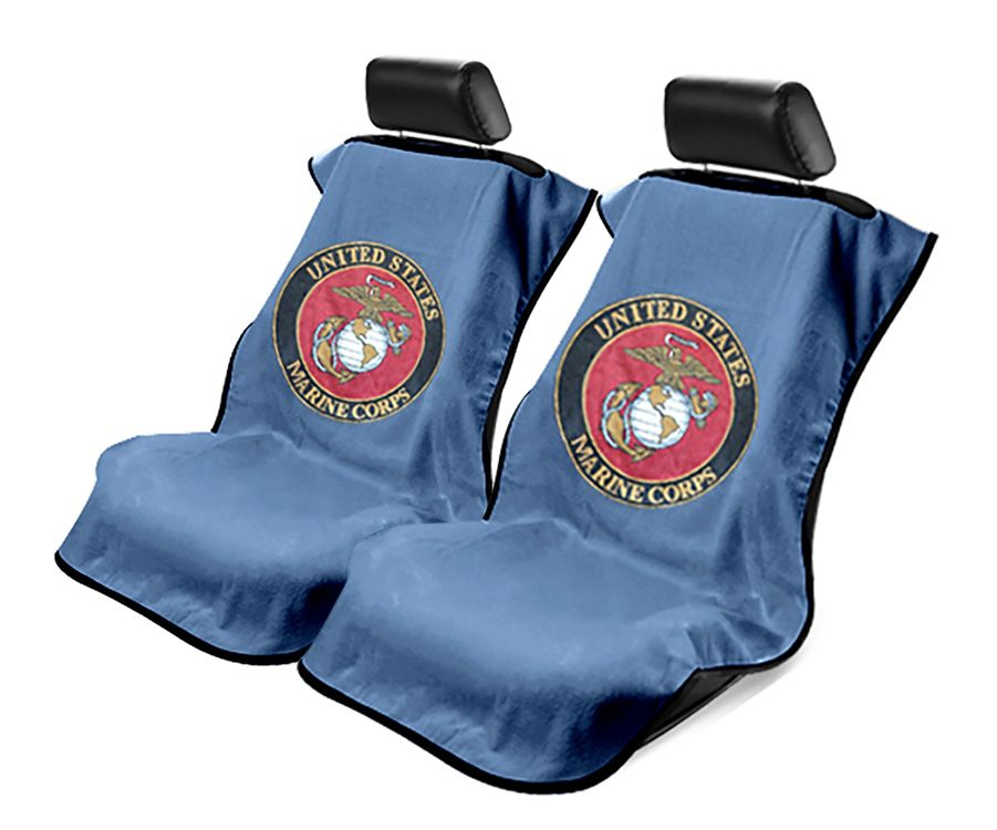 Seat Armour Pair of Marine Blue Towel Seat Covers with US Marines Logo, Front-Right View