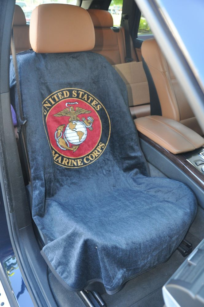 Seat Armour Pair of Marine Blue Towel Seat Covers with US Marines Logo, Inside Car View