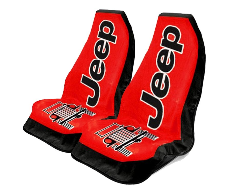 Seat Armour Pair of Red Towel 2 GO Seat Covers with Jeep Wrangler Logo, Front-Right View