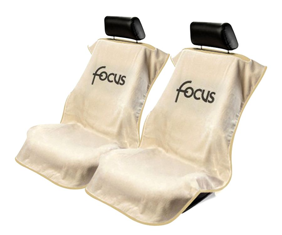 Seat Armour Pair of Tan Towel Seat Covers with Focus Logo, Front-Right View