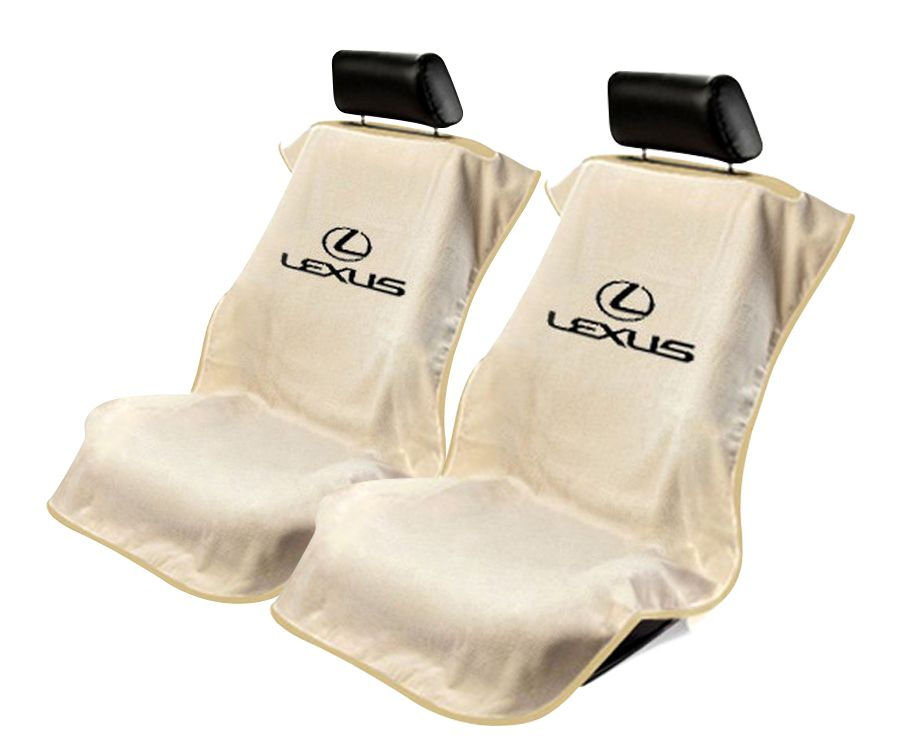 Seat Armour Pair of Tan Towel Seat Covers with Lexus Logo, Front-Right View