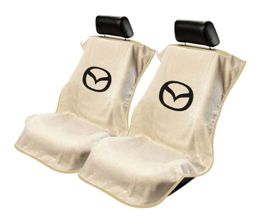 Seat Armour Pair of Tan Towel Seat Covers with Mazda Logo, Front-Right View