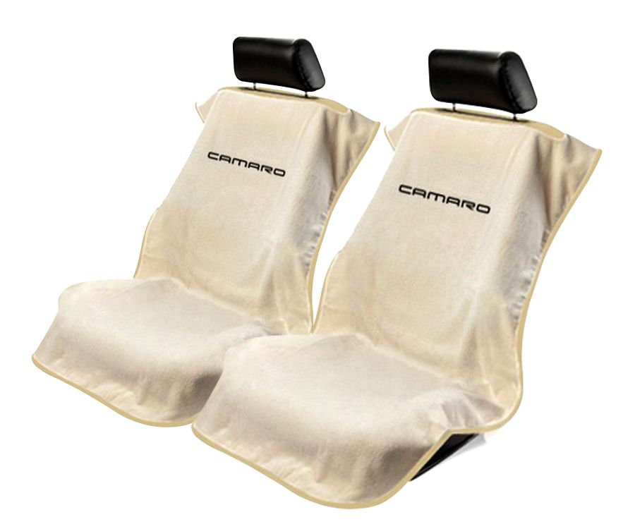 Seat Armour Pair of Tan Towel Seat Covers with New Camaro Logo, Front-Right View