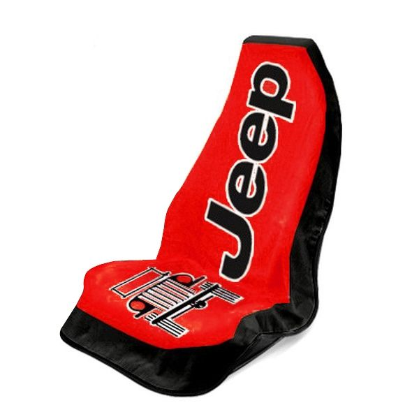 Seat Armour Red Towel 2 Go Seat Cover with Jeep Wrangler  Logo - Front-Right View