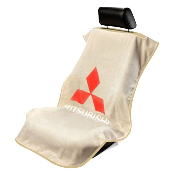 Seat Armour Tan Towel Seat Cover with Mitsubishi Logo - Front-Right View