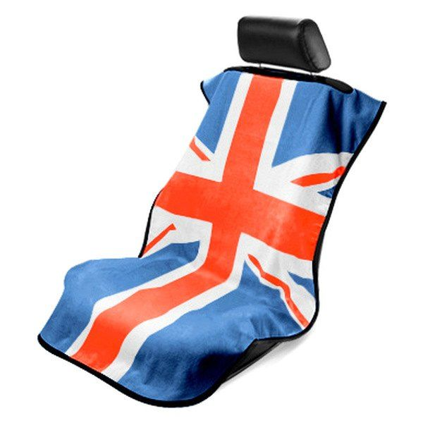 Seat Armour  Towel Seat Cover with RWB British Flag Logo - Front-Right View