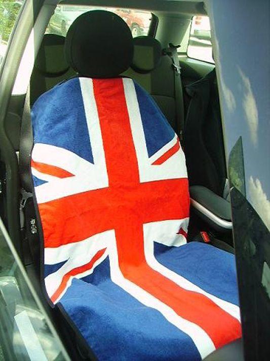 Seat Armour  Towel Seat Cover with RWB British Flag Logo - Inside Car View