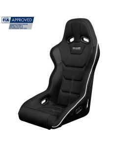 Braum Black Cloth FIA Approved Fixed Back FALCON X Series Racing Seat With White Piping BRR8-BFWP, Front-side view
