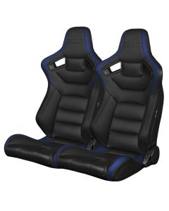 Braum Pair of Black and Blue Leatherette Carbon Fiber Mixed Elite Series Racing Seats (BRR1-BKBU), Pair