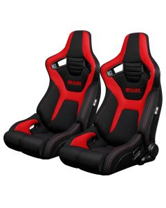 Braum Pair of Black And Red Cloth ELITE-R Series Racing Seats with Red Stitches BRR1R-BFRD, Pair