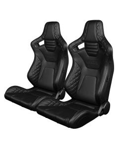 Braum Pair of Black Diamond Leatherette Elite-X Series Racing Seats with Grey Stitches BRR1X-BDGS, Pair