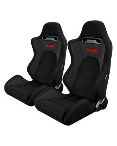 Braum ® - Pair of Black-Grey Fabric Microsuede Mixed S8 Series Racing Seats with Black Stitches (BRR3-BKGY)