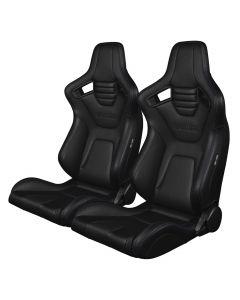 Braum Pair of Black Leatherette Carbon Fiber Mixed Elite-X Series Racing Seats with Purple Stitches BRR1X-BKPS, Pair