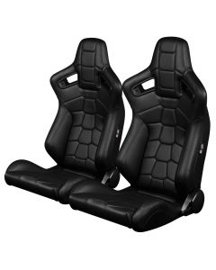 Braum Pair of Black Leatherette Komodo Edition Elite-X Series Racing Seats (BRR1X-BKRT), Pair