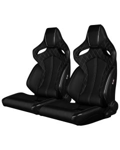 Braum Pair of Black Leatherette ORUE Series Diamond Edition Racing Seats With White Stitching and Piping.