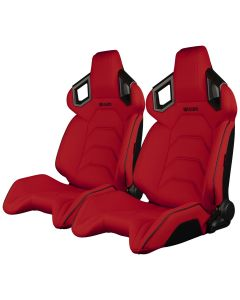 Braum Red Cloth ALPHA-X Series Racing Seats With Black Stitching and Piping, Pair