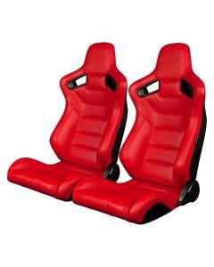 Braum Pair of Red Leatherette Carbon Fiber Mixed Elite Series Racing Seats (BRR1-RDBS), Pair