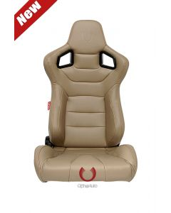 Cipher Auto ® - Beige Leatherette Carbon Fiber with Gold Stitching Special Edition Universal Euro Racing Seats (CPA2001PCFBG-GD)