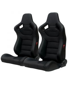 Cipher Auto - Black Leatherette Carbon Fiber with Grey Stitching Universal AR-9 Revo Racing Seats CPA2009PCFBK-G, Pair