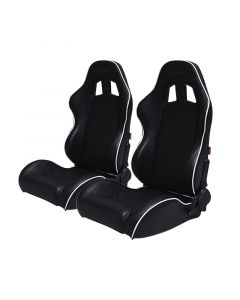 Cipher Auto Black Leatherette with White Accent Piping Universal Racing Seats CPA1031PBK-W, Pair