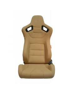 Cipher Auto Desert Sand Beige Leatherette Carbon Fiber with Beige Stitching Universal AR-9 Revo Racing Seats CPA2009PCFBG, Front View