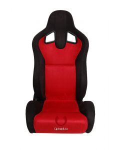 Cipher Auto Pair of Black and Red Microsuede Universal Racing Seats (CPA1039SDBKRD), Front View