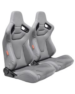Cipher Auto ® - Pair Of Grey Leatherette Racing Seats With Grey Stitches (CPA2009RS-PGY)