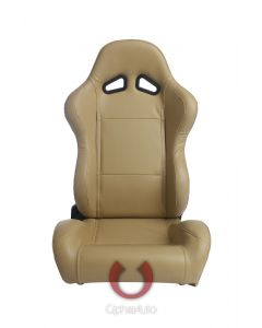 Cipher Auto ® - Beige Leatherette Universal Racing Seats (CPA1001PBG)