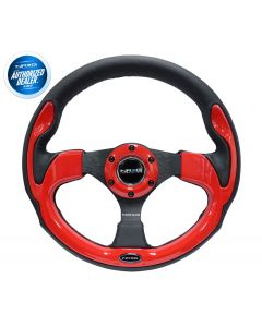 NRG 320mm Sport Black Leather Steering Wheel with Red Trim (RST-001RD), Image 1