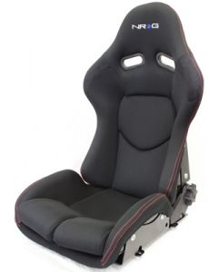 NRG ® - Black Cloth Reclinable FRP Bucket Racing Seat with Black Backing and Red Stitching (RSC-400BK)