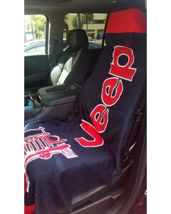 Seat Armour Black And Red Towel 2 GO Seat Cover with Jeep Wrangler Logo T2G100BLK, In situation Image