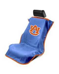 Seat Armour Blue Towel Seat Cover with NCAA Auburn University Logo, Front-Right View