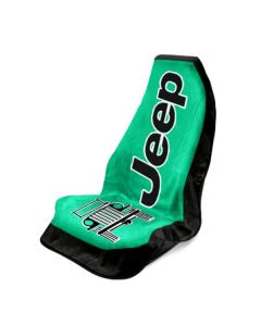 Seat Armour Green Towel 2 Go Seat Cover with Jeep Wrangler  Logo - Front-Right View