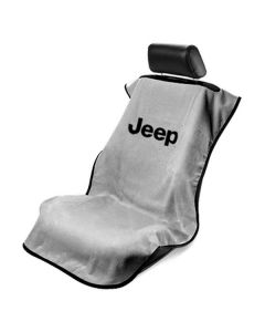 Seat Armour Grey Towel Seat Cover with Jeep Letters Logo - Front-Right View