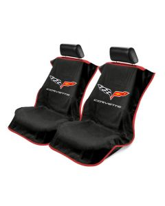 Black 3PC Towel Protectors For Corvette C6 - 2X Seats Covers & 1X Console Cover