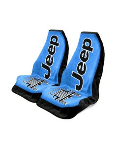 Seat Armour Pair of Blue Towel 2 GO Seat Covers with Jeep Wrangler Logo, Front-Right View
