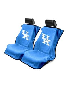 Seat Armour Pair of Blue Towel Seat Covers with NCAA Kentucky Wildcats Logo, Front-Right View