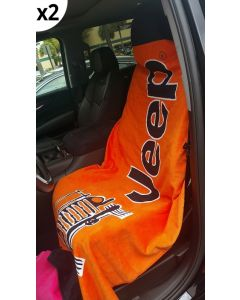 Seat Armour Pair of Orange Towel 2 GO Seat Covers with Jeep Wrangler Logo (T2G100OR), in situation image