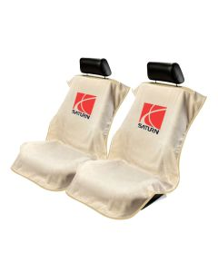 Seat Armour Pair of Tan Towel Seat Covers with Saturn Logo, Front-Right View