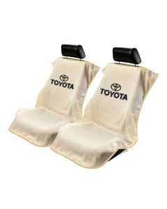 Seat Armour Pair of Tan Towel Seat Covers with Toyota Logo, Front-Right View