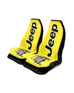 Seat Armour Pair of Yellow Towel 2 GO Seat Covers with Jeep Wrangler Logo, Front-Right View