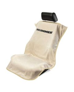 Seat Armour Tan Towel Seat Cover with Hummer Logo - Front-Right View