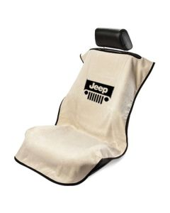 Seat Armour Tan Towel Seat Cover with Jeep with Grille Logo - Front-Right View